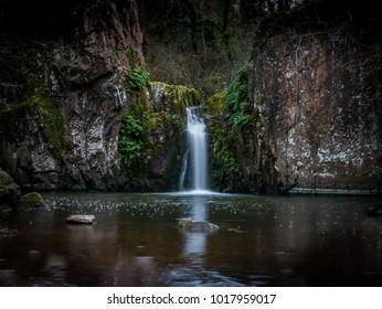 Hidden waterfall in winter