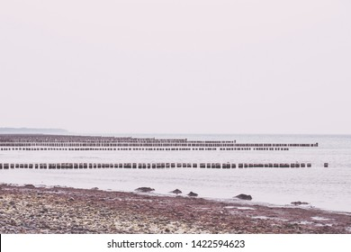 Hiddensee Island Germany, rows of groins in the Baltic Sea
