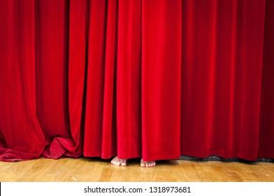 Hiding behind Curtain