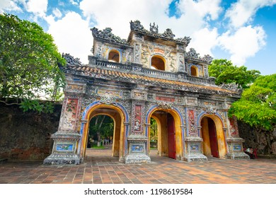 Hien Nhon Gate and eastern entrance of the UNESCO World Heritage site of Imperial Palace and Citadel in Hue, Vietnam
