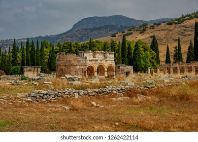 Hierapolis - an ancient city located on the slope of the Cökelez mountain, above the Pamukkale limestone terraces, approx. 15 km from Denizli in south-western Turkey (Anatolia)