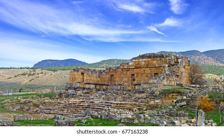 Hierapolis, an ancient city located on hot springs in Pamukkale in Denizli Province in southwestern Turkey. Here is a UNESCO World Heritage Site.