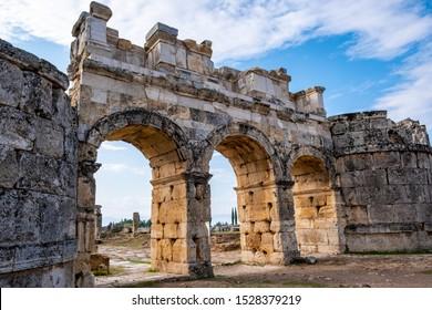 Hierapolis ancient city ruins, North Roman Gate, Pamukkale, Denizli, Turkey
