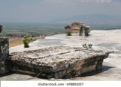Hierapolis antique tomb in Pamukkale, Denizli, Turkey