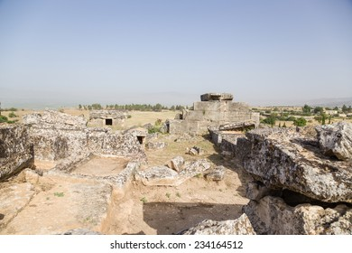 Hierapolis (Pamukkale), Turkey. Ruins of crypts in the ancient necropolis of crypts, 2nd century BC - 15th century AD