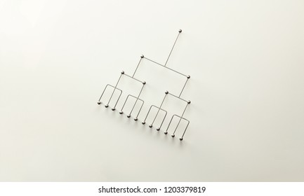Hierarchy, command chain, company / organization structure or layer and grouping concept image. Top down structure made from gold wires and silver nails and wire on white. Shallow depth of field.
