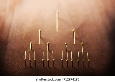 Hierarchy, command chain, company / organization decision making structure or information layer concept image. Top down structure made from gold wires and nails on rustic wooden surface. Shallow DOF.