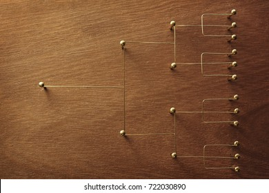 Hierarchy, command chain, company / organization chart, structure or layer and grouping concept image. Top down structure made from gold wires and nails on rustic wooden surface.