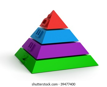 Hierarchy of needs as a pyramid of non-ferrous parts, isolated on white. 3d render