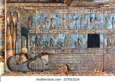 Hieroglyphic drawings and paintings on the ceiling and walls of the ancient Egyptian temple of Dendera
