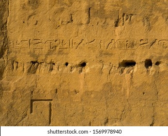 Hieroglyphics on the bedrock from which it  was carved the area where it was built the Pyramid of Khafre on the Giza Necropolis. In Cairo, Egypt