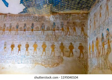 Hieroglyphs inside tomb Pharaoh Merenptah in tomb KV8, located in the Valley of the Kings, in Luxor