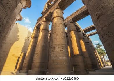 Hieroglyphs at Karnak Temple, Luxor, Egypt