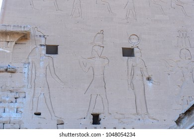 Hieroglyphs of the Ptolemaic Temple of Horus, Edfu, Egypt.