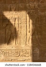 Hieroglyphs and stone artwork in Edfu Temple