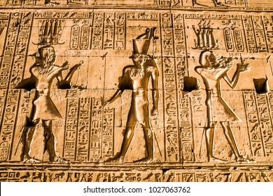 Hieroglyphs in the Temple of Horus, Edfu