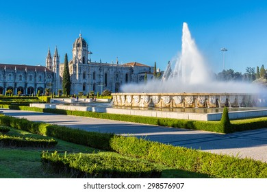Hieronymites Monastery  and fountain in Lisbon, Portugal