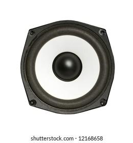 Hi-fi loudspeaker isolated on white background