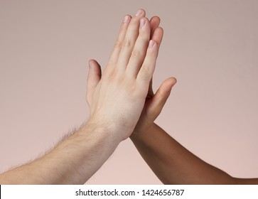 Hi-five hands isolated. Win and teamwork concept.