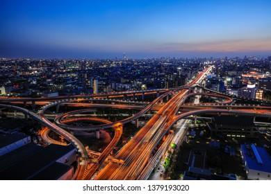 Higashi Osaka Junction of Osaka City, amazing twilight scene