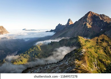 high above the clouds in the north cascade mountains of washington state