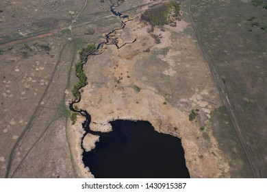 High above view of river and the pond