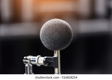 High accuracy microphone in noise (sound) testing room with LED light. High technology. Microphone for noise recorder.