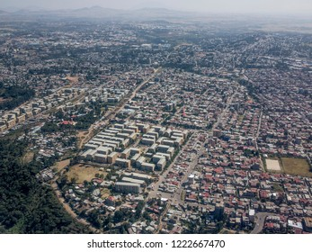 High aerial view of the sprawling city of Addis Ababa, Ethiopia.