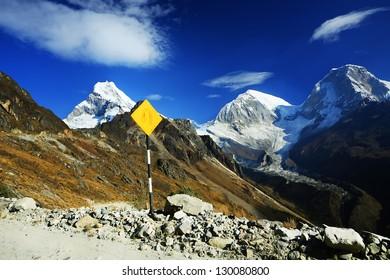 High alpine road in Cordiliera Blanca, Peru, South Amrica