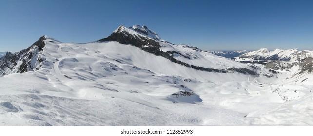 High alpine ski area in the French alps above Avoriaz, France