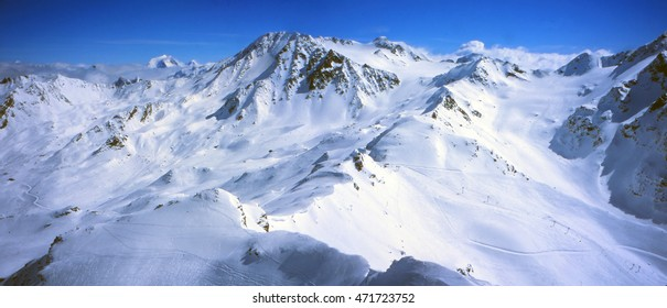 High alpine ski area in the French alps above Avoriaz, France
