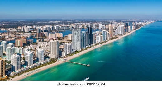 High altitude aerial of the coast of Sunny Isles in Miami
