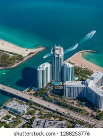 High altitude aerial shot of the Haulover Inlet in Miami