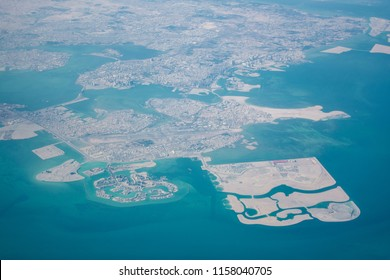 High altitude aerial view of the north part of Bahrain