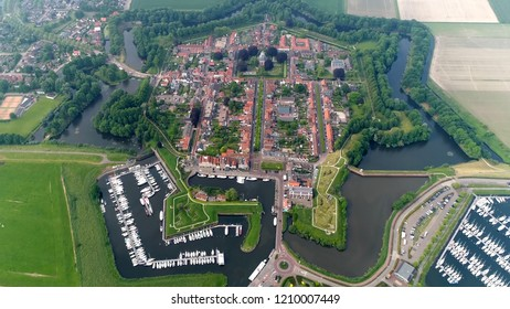 High altitude bird view photo of hexagon bastion fort Willemstad is a fortified city in the commune of Moerdijk in the Dutch province Noord-Brabant located at coastline of Hollands Diep