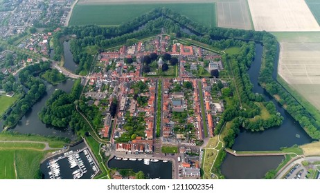 High altitude bird view picture of hexagon bastion fort Willemstad is a fortified city in the commune of Moerdijk in the Dutch province Noord-Brabant located at coastline of Hollands Diep