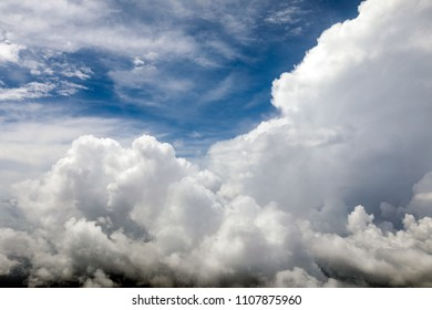 High altitude fluffy clouds over Thailand.