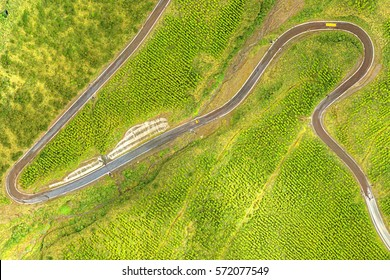 High Altitude Overview Of The Access Road In Cotopaxi National Park Ecuador Vertical Aerial Images