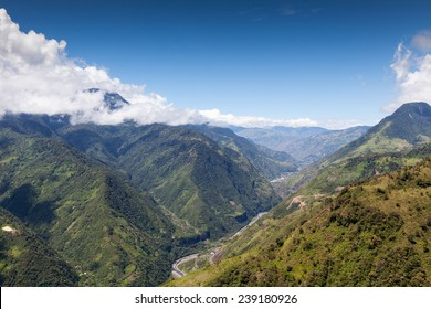 High Altitude Shot Of Pastaza Valley In Ecuador Llanganates National Park On The Right And Tungurahua Volcano On The Far Left Full Size Helicopter