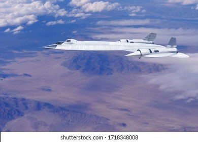 high altitude spy plane flying in the air over deserted enemy territory spying and collecting strategic intelligence