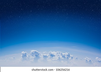High altitude view between sky and space
