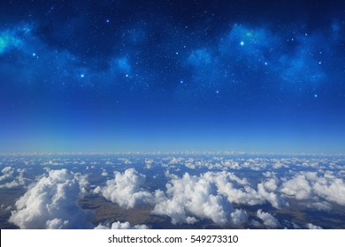 High altitude view between sky and space , into the dark