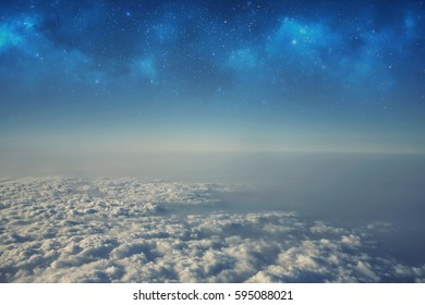 High altitude view between sky and space , in to the dark