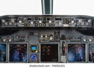High altitude view from inside the Cockpit of a Commercial airliner