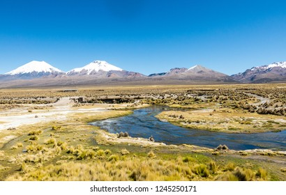 High Andean tundra landscape in the mountains of the Andes. The weather Andean Highlands Puna grassland ecoregion, of the montane grasslands and shrublands biome.