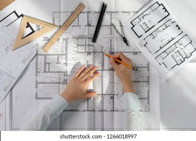 High angle above top view cropped lady in her formalwear shirt she sit at the desk make new business object improvement element create space on blank