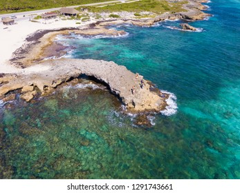 High angle aerial view of El Mirador, the land bridge on the Caribbean Sea in Cozumel, Mexico.