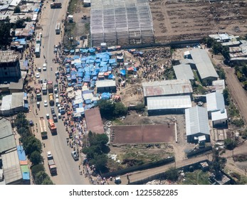 high angle aerial view of open air market in Addis Ababa, Ethiopia.