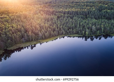 High angle aerial view of a pond and forest in Kurjenrahka National Park, Finland