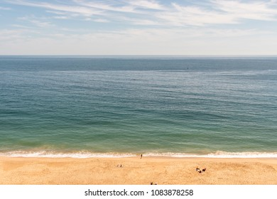 High angle beach view in Sesimbra, Portugal